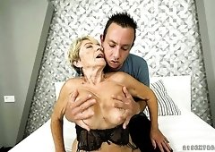 Ardent auburn cougar with chubby body Malya is fucked doggy hard enough