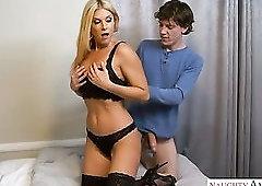 Torrid slender blondie in black stockings India Summer lets dude eat slit