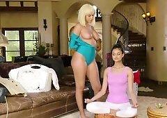 Peaceful brunette teen is disturbed by naughty blonde