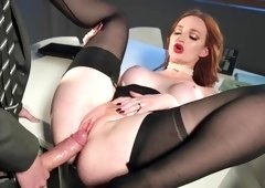 Danny has sex with a horny redhead coworker in black stockings