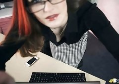 Too busy secretary in glasses Honour May exposes her natural titties