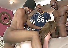 Jennifer White offers her body to a bunch of black lovers