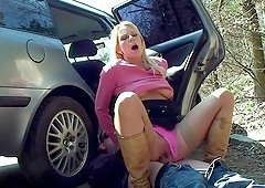 Nasty Melanie Crush gets to play with a long cock outdoors
