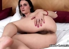 Winsome flat chested girl in passionate masturbation porn video