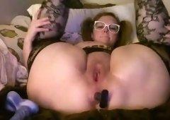 Cute chubby girl with buttplug again