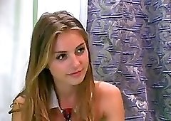 Blonde girl has a great time on webcam and enjoys it