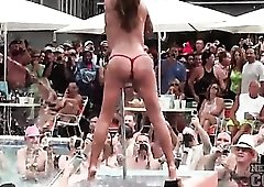 Spring Break pool party with topless babes