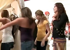 Girls Watch TV Host Suck Dick in a Public Dressing Room