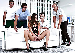 Oral gangbang is what a real whore in black stuff Amirah Adara deserves