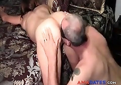 Husband licks his own cum from girl