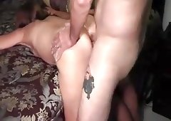 Husband licks his own cum from wife