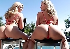 Anikka Albrite & Mia Malkova rubbing their wet pussy lips
