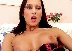 Pretty babe Evelyn Lory masturbates in a really arousing way