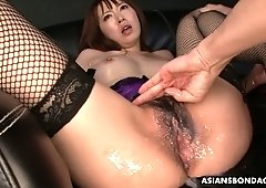Busty Asian chick in fishnets Sayaka Tsuji squirts all over the place