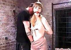 Kinky tied up bimbo got her pussy toyed BDSM porn