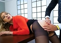 Cheerful chick gets penetrated by co-worker in the office