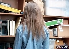 Cute and chubby teen shoplifter fucks the shop owner