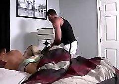 Sexy bedroom barebacked frigging