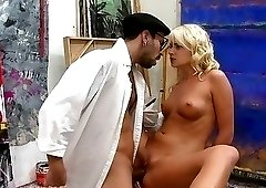 Perky tits blonde fucking a stereotypical painter with a big cock