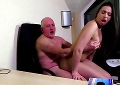 Sweetie Carla Crouz treats an oldie Len with a reverse cowgirl ride