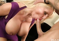Busty blond mommy Karen Fisher gets banged in mish style after hot oral session