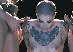 Fantastic gang bang scene of slutty bitch and three dark angels