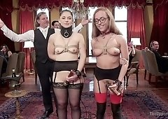 Tied up hooker Roxanne Rae and her assistant are fucked in one private club