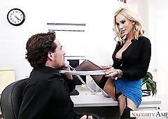 Naughty seductive secretary Sarah Jessie is good at topping her boss