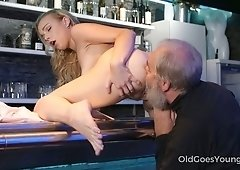 Lusty bar worker Rebecca gets her pussy fingered and licked