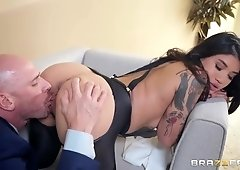 Bald stud seduces curvy brunette into riding his dick