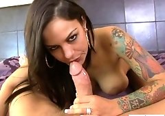 Tattooed hottie Angelina Valentine is fucked by horny stud  in hot POV clip