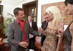 Horny pornstars Sarah Twain and Sarah Star in exotic facial, blonde adult clip