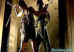 BDSM model Alex Zothberg nude bondage whipping in dungeon