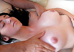 Dark haired beauty Lexi gets an intense oily tits massage