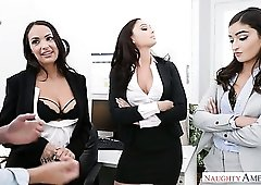 Lusty office sluts with sexy boobies desire to work on stiff dick (FFFM)