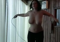 Some cock stiffening topless jump rope and this babe's boobs are so great