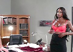 Black milf covered in slippery oil and fucked hardcore