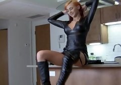 Redhead Lady cruel Ballbusting spiked Boots