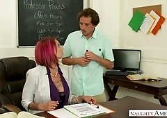 Gorgeous tattooed teacher Anna Bell Peaks has a quickie with young student