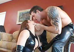 Stunning pornstar in latex lingerie gets her pussy licked then hammered hardcore