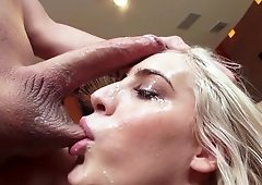 A blonde with a sexy mouth is sucking cock and licking balls