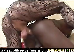 Black guy and two sexy shemales