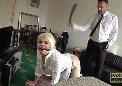 Mature blonde slut Skylar Squirt spanked and pounded hardcore