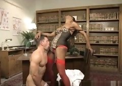 Stud boss drills hunk on top of desk