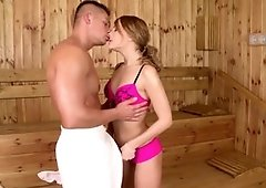 Don't miss wild puny teenie Blue Angel inhale yam-sized fuck-stick in sauna with pleasure!