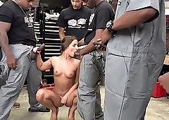 blowbang babe sucks big black cocks