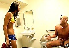 Beautiful Skinny Teen Jessica Valentino Handjobs in the Bathroom