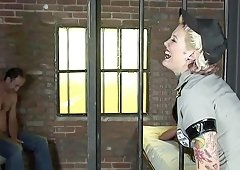 Tattooed babe Candy Monroe gets punished with a stiff shaft
