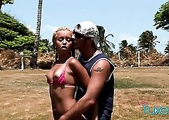 Naughty blondie with cute braids gets fucked doggy right outdoors