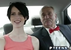 Being old and rich is awesome and this young slut is more than eager to fuck